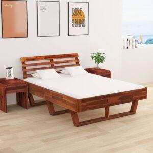 kahe öökapiga akaatsiapuidust voodiraam 140 x 200 cm