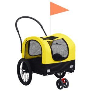 kaks ühes lemmiklooma rattatreiler ja jooksukäru kollane