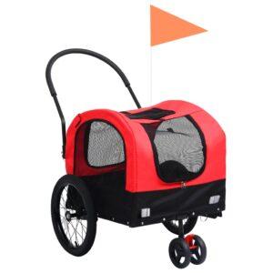 kaks ühes lemmiklooma rattatreiler ja jooksukäru punane ja must