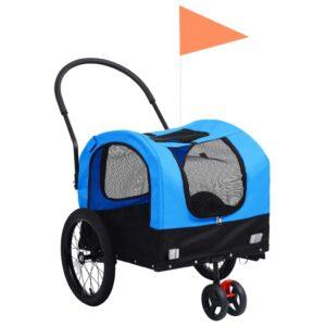 kaks ühes lemmiklooma rattatreiler ja jooksukäru sinine ja must