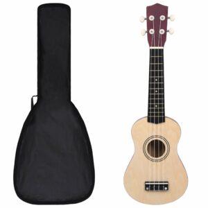 """sopran ukulele komplekt kotiga lastele hele puit 21"""""""