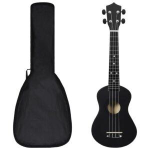 """sopran ukulele komplekt kotiga lastele must 23"""""""