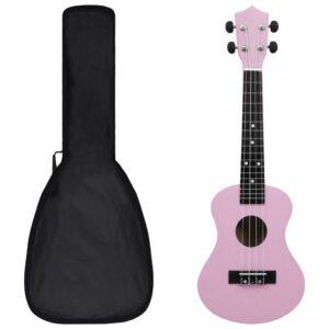 """sopran ukulele komplekt kotiga lastele roosa 23"""""""