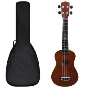 """sopran ukulele komplekt kotiga lastele tume puit 23"""""""