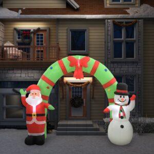 täispumbatav jõuluvana ja lumememm kaarega