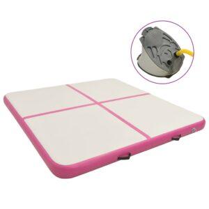 täispumbatav võimlemismatt pumbaga 200x200x20 cm PVC roosa