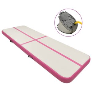 täispumbatav võimlemismatt pumbaga 500x100x20 cm PVC roosa