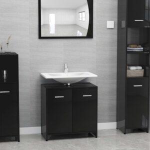 vannitoakapp kõrgläikega must 60 x 33 x 58 cm puitlaastplaat