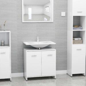 vannitoakapp kõrgläikega valge 60 x 33 x 58 cm puitlaastplaat