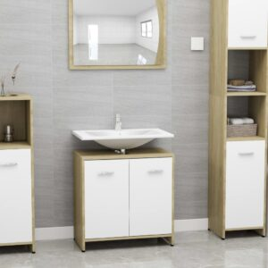 vannitoakapp valge ja Sonoma tamm 60x33x58 cm puitlaastplaat