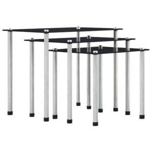 virnastatavad lauad 3 tk must karastatud klaas