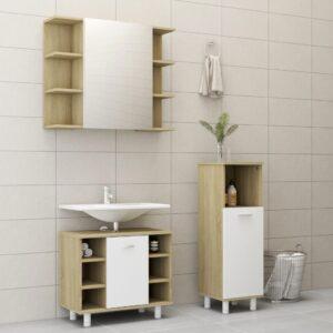 3-osaline vannitoamööbli komplekt valge