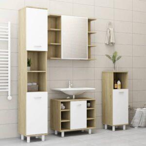 4-osaline vannitoamööbli komplekt valge
