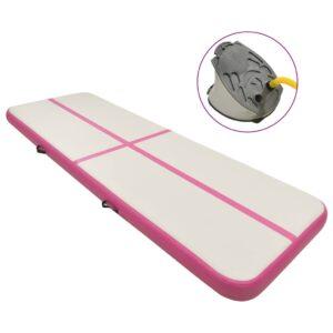 täispumbatav võimlemismatt pumbaga 500x100x15 cm PVC roosa