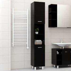 vannitoakapp kõrgläikega must 30 x 30 x 179 cm puitlaastplaat