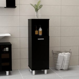 vannitoakapp kõrgläikega must 30 x 30 x 95 cm puitlaastplaat