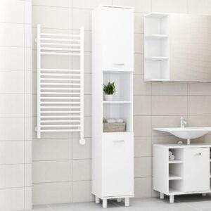 vannitoakapp kõrgläikega valge 30 x 30 x 179 cm puitlaastplaat