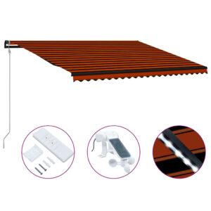 varikatus tuuleanduri ja LEDiga 500 x 300 cm oranž ja pruun