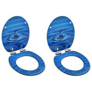 WC prill-lauad pehmelt sulguva kaanega 2 tk MDF sinine veetilk