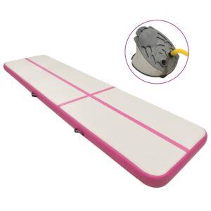 täispumbatav võimlemismatt pumbaga 800x100x15 cm PVC roosa
