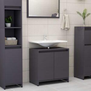 vannitoakapp kõrgläikega hall 60 x 33 x 58 cm puitlaastplaat
