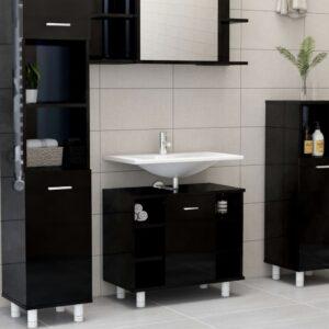 vannitoakapp kõrgläikega must 60x32x53