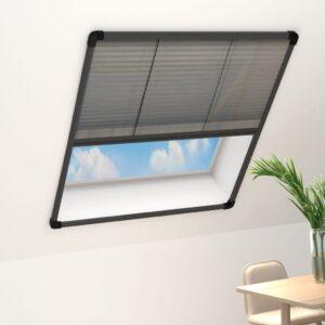 plisseeritud putukavõrk aknale alumiinium antratsiit 80x160 cm