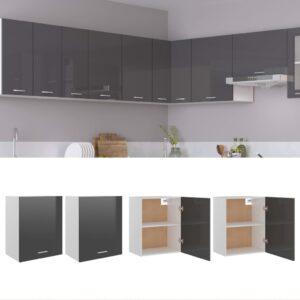 seinakapid 2 tk kõrgläikega hall 50 x 31 x 60 cm puitlaastplaat