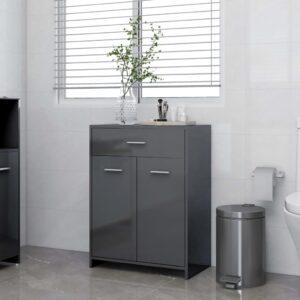 vannitoakapp kõrgläikega hall 60 x 33 x 80 cm puitlaastplaat