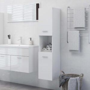 vannitoakapp kõrgläikega valge 30 x 30 x 130 cm puitlaastplaat