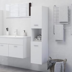 vannitoakapp valge 30 x 30 x 130 cm puitlaastplaat
