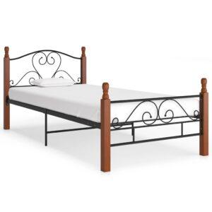 voodiraam must metallist 90 x 200 cm