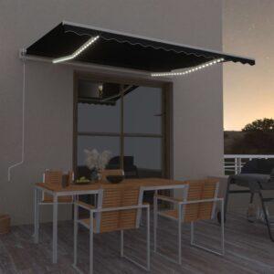 automaatne varikatus LEDi ja tuuleanduriga 400x300 cm tumehall