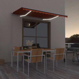käsitsi sissetõmmatav varikatus LED 300 x 250 cm oranž ja pruun
