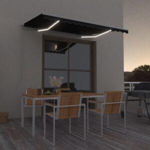 käsitsi sissetõmmatav varikatus LEDiga 350x250 antratsiithall
