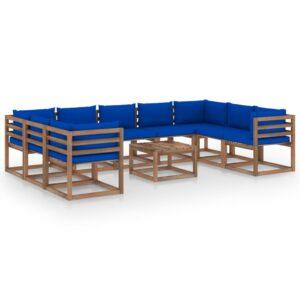 10-osaline aiamööbli komplekt siniste patjadega