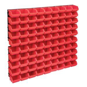 96-osaline hoiukastide komplekt seinapaneelidega punane ja must