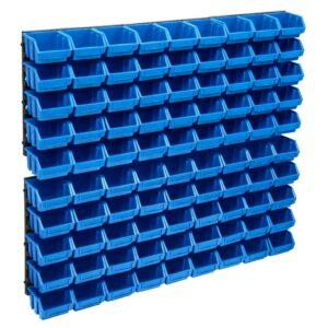 96-osaline hoiukastide komplekt seinapaneelidega sinine ja must
