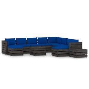12osaline aiamööbli komplekt istmepatjadega hall immutatud puit