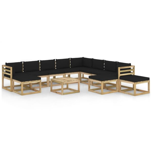 12osaline aiamööbli komplekt istmepatjadega immutatud männipuit