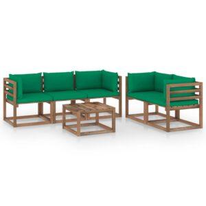 6-osaline aiamööbli komplekt roheliste patjadega