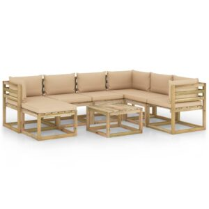 8-osaline aiamööbli komplekt istmepatjadega immutatud männipuit