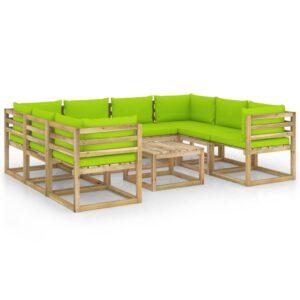 9osaline aiamööbli komplekt istmepatjadega immutatud männipuit
