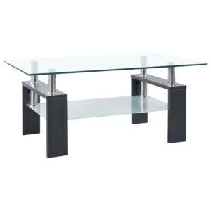 kohvilaud hall ja läbipaistev 95 x 55 x 40 cm karastatud klaas