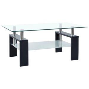 kohvilaud must ja läbipaistev 95 x 55 x 40 cm karastatud klaas